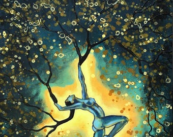 Nature Of Light Original Painting Woman Tree Wall Art by artist Rafi Perez Mixed Medium on Canvas 18X24