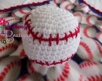 Crochet Baby Security Blanket  Baseball Theme  Handmade Crochet and Fleece  19 Inches Square