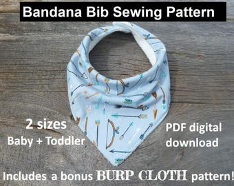 bandana bib sewing pattern, pdf bandana bib, bibdana pattern, baby bandana pattern, bibdana pattern download, dribble bib sewing pattern