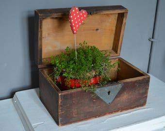 Vintage wood tool chest - Carpenter's chest - Wood tool box - Vintage storage - Industrial tool box - Antique decor.