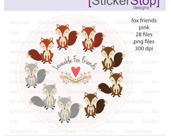 Fox Friends in Pink, 28 images PNG Digital Clipart - Instant download - fox, heart, flowers, woodland, forest, bow tie clip art
