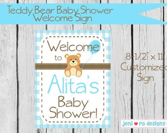 Teddy Bear Boy Baby Shower Printable Welcome Sign - Personalized
