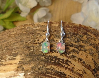 Ethiopian Fire Opal Dangle or Stud Earrings, Sterling Silver, 1.45 Cts 7.00 x 5.00 mm Color Choice Natural Ethiopian Opal, Bridesmaid Gift