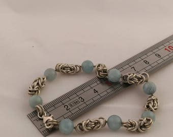 Sterling silver bracelet with aquamarine
