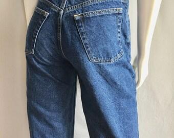 Vintage Women's 80's American Blue Jeans, High Waisted, Straight Leg, Denim (M)