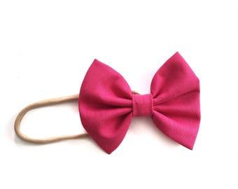 Baby/Child/Infant/Girl's Fuchsia Hot Pink Summer Fabric Hair Bow - Nylon Headband OR Alligator Hair Clip