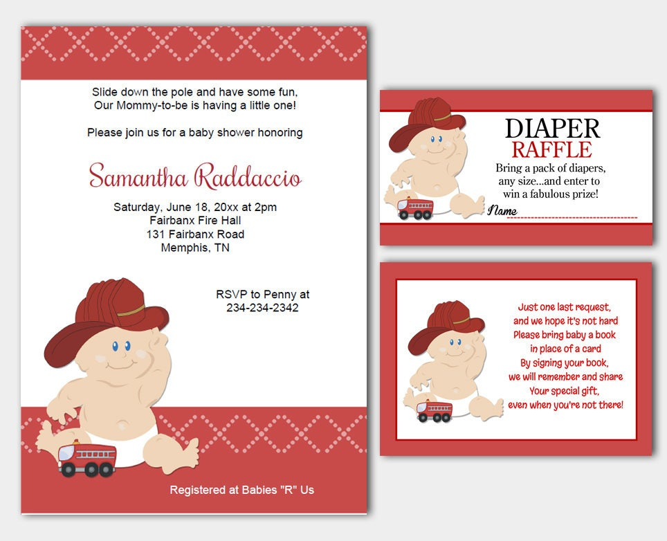 Baby Firefighter Fireman Baby Shower Invitation Diaper