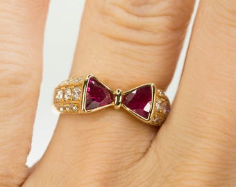"Vintage Ruby ""Bowtie"" Ring"