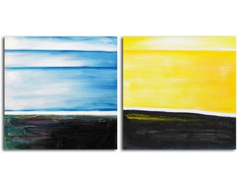 """Hand painted Acrylic Painting set of 2 - 32"""" x 64"""" Gallery wrapped and stretched canvas art, abstract, textured , figure, modern painting"""
