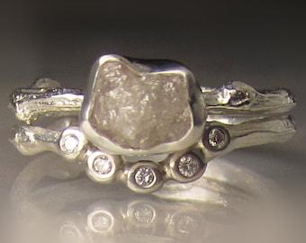Raw Diamond Engagement Ring, Rough Diamond Wedding Set, Raw Diamond Twig Ring