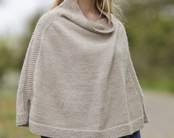 Handmade hand knit classy cowl-neck alpaca wool women poncho sweater / cape / wrap - sizes S-M-L-XL-XXL-XXXL