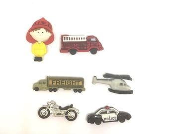 Fire Fighter First Responder Push Pins or Magnets x6, Police Helicopter Truck Thumbtacks, Boys Push Pins, Cork Board Tacks