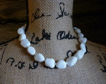 Wilma ~ Necklace ~ Pebble ~ Rock~ White ~ Snow Quartz ~ Halloween ~ Flintstone~ Costume ~ Jewelry