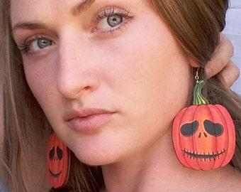 Halloween earrings. Pumpkin earrings. Halloween party. Wooden earrings. Medical steel. Gift for her. Painting jewelry