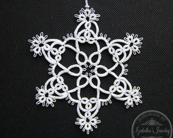 Hand tatted Christmas Snowflake XVI