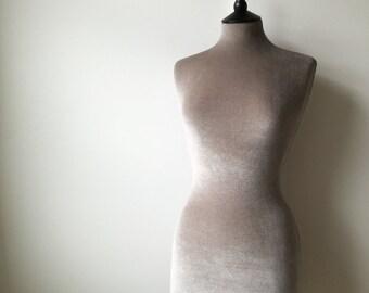 Female Display Wedding Dress Mannequin Velvet Home Decor Dressform - Pebble Grey