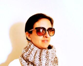 Grey cowl/ neckwarmer/ wool/ infinity scarf/ knitting/ scarflette/ winter/ accessories