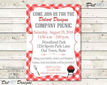 Custom Picnic Invitations, Company BBQ Invite, Church Or Business Party,  Printable Digital File