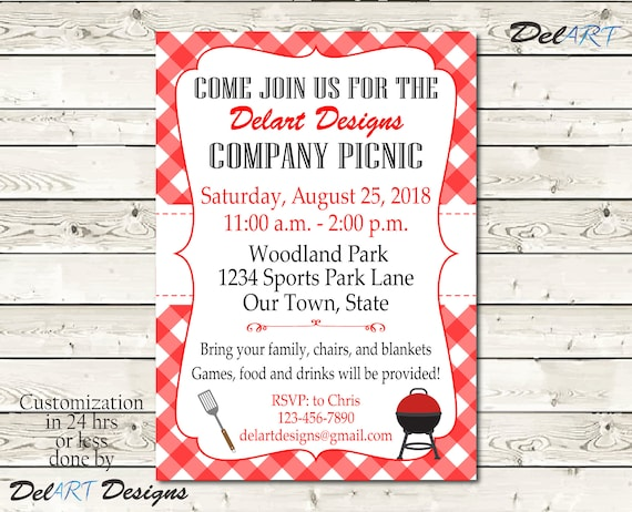 Custom Picnic Invitations Company Bbq Invite Church Or