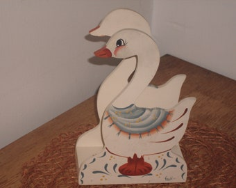 vintage hand painted wooden goose napkin holder