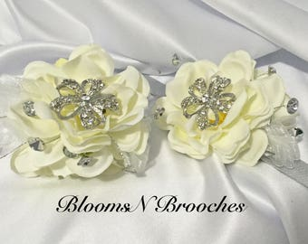 Hand corsage, ivory and rhinestone corsage, wedding corsage, bridesmaid corsage, mother of the bride corsage