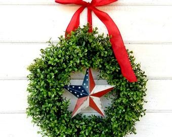 Patriotic Boxwood Wreath-4th of July Star Wreath-Summer Door Wreath-Primitive Star Wreath-Military Wreath-Patriotic Wall Hanging-Custom Made