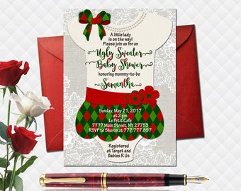 Ugly Christmas sweater baby shower invitation little lady digital invite girl birthday party printable dress for girl lace bow green red