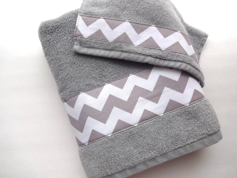 Grey Chevron towels towel hand towel bath towel grey