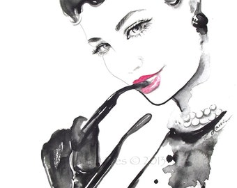 Fine Art Print 8.5 x 11 from Original Watercolor Fashion Illustration by Lana Moes