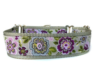 Wide 1 1/2 inch Adjustable Buckle or Martingale Dog Collar in Layla