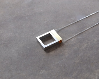 Minimalist Necklace Contemporary Mixed Metal Jewelry Architecture Series Floating Open Window