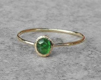Emerald ring, 14k gold ring, Emerlad Engagement ring, Gemstone ring, May birthstone, birthstone ring, Promise ring, Emerald jewelry