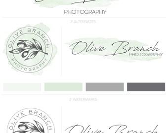 Hand Drawn Logo, Olive Logo, Premade Logo, Photography Logo, Vintage Logo Design, Modern Logo, Food Logo, Watercolor Logo, Greenery Logo