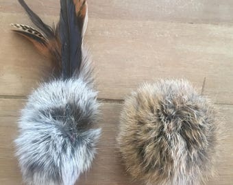 Cat-fishing Lure, Rabbit Fur, Feathers, Interactive Cat Toy, 1 of each in package