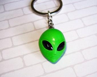 Alien keychain. Polymer clay.  Size alien - 1 inch.
