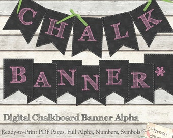 Pink Chalkboard Banner Pennants Shabby Alphabet Printable letter garland for custom party decor, bunting, birthday, graduation, weddings