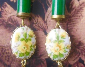 Yellow Rose and Jade Earrings