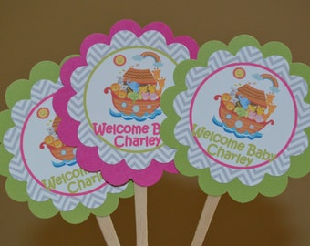 Noah's Ark Cupcake Toppers - Noah's Ark Baby Shower - Welcome Baby Cupcake Toppers - Lime Green and Bright Pink - Chevron - Set of 12
