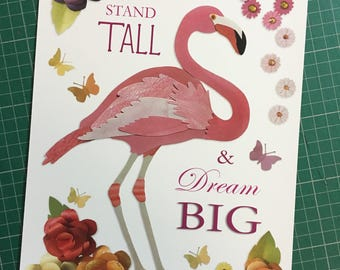Stand Tall & Dream Big A4 giclee print - Flamingo in flowers