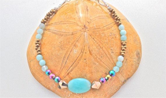 bracelet pierres fines et argent : amazonite, hématite arc en ciel, rocailles Preciosa