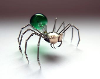 Clockwork Spider Sculpture No 90 Recycled Watch Parts Arachnid Figurine Stems Lightbulb Arthropod A Mechanical Mind Gershenson