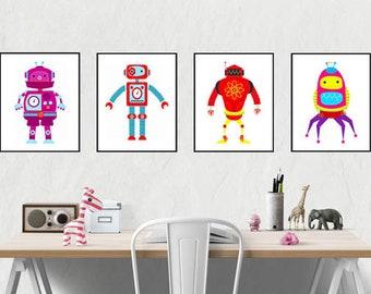 Robot Wall Art 4 Print Set