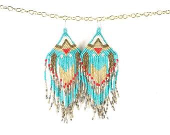 """Bohemian earrings, beaded earrings, seed bead earrings, """"Desert Queen"""" earrings."""