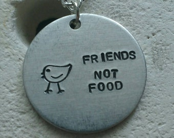 """Friends not food chicken necklace - vegan veggie jewelry - animal rights jewellery - handstamped 25mm pendant on 18"""" chain"""