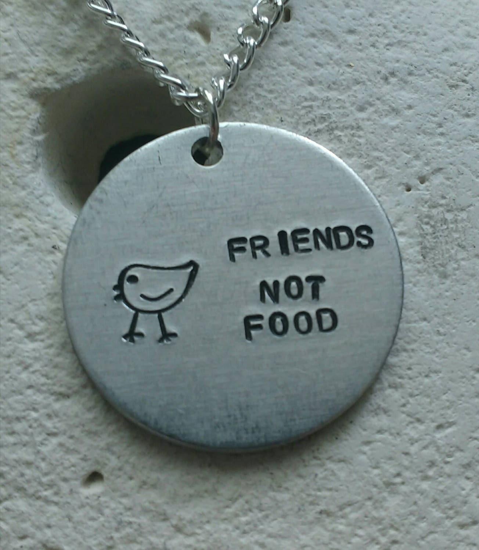 Friends not food chicken necklace - vegan veggie jewelry - animal rights jewellery - handstamped 25mm pendant on 18