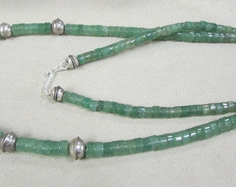 Aventurine and Sterling Vintage Silver Bead Necklace