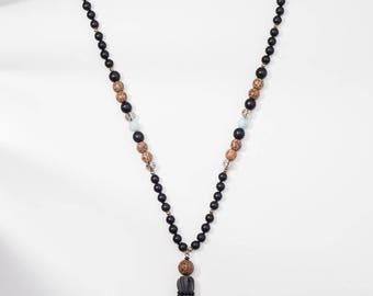 Leather tassel necklace, Mala necklace, Mala bead, Bohemian Tassel necklace, Prayer beads, Long beaded necklace, Long tassel necklace, Yoga