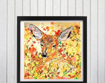 Fawn, Deer, Woodland decor, Fawn art print, Deer wall art, Nursery prints, Woodland theme art