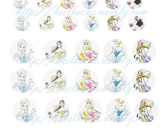 Digital Collage Mix Disney Princess / Frozen 37 images 20, 30, 40 mm Cabochon Bottlecap Magnet Printable Image clipart Download