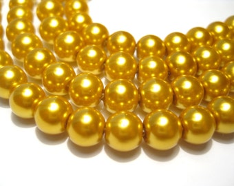 50pcs Gold Glass Pearl Beads 8mm Round